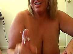 Top heavy mom with 42F juggs Mrs. Miller is upset that Mrs. Robinson is getting all the action so this horny housewife stops by demanding big cumloads by jerking and milking out a mega load of jizz